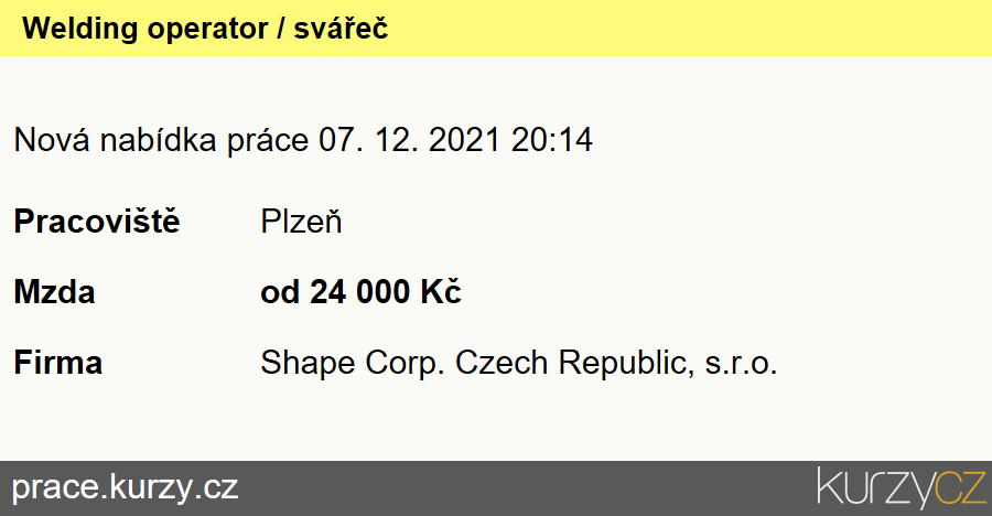Welding operator / svářeč, Svářeči